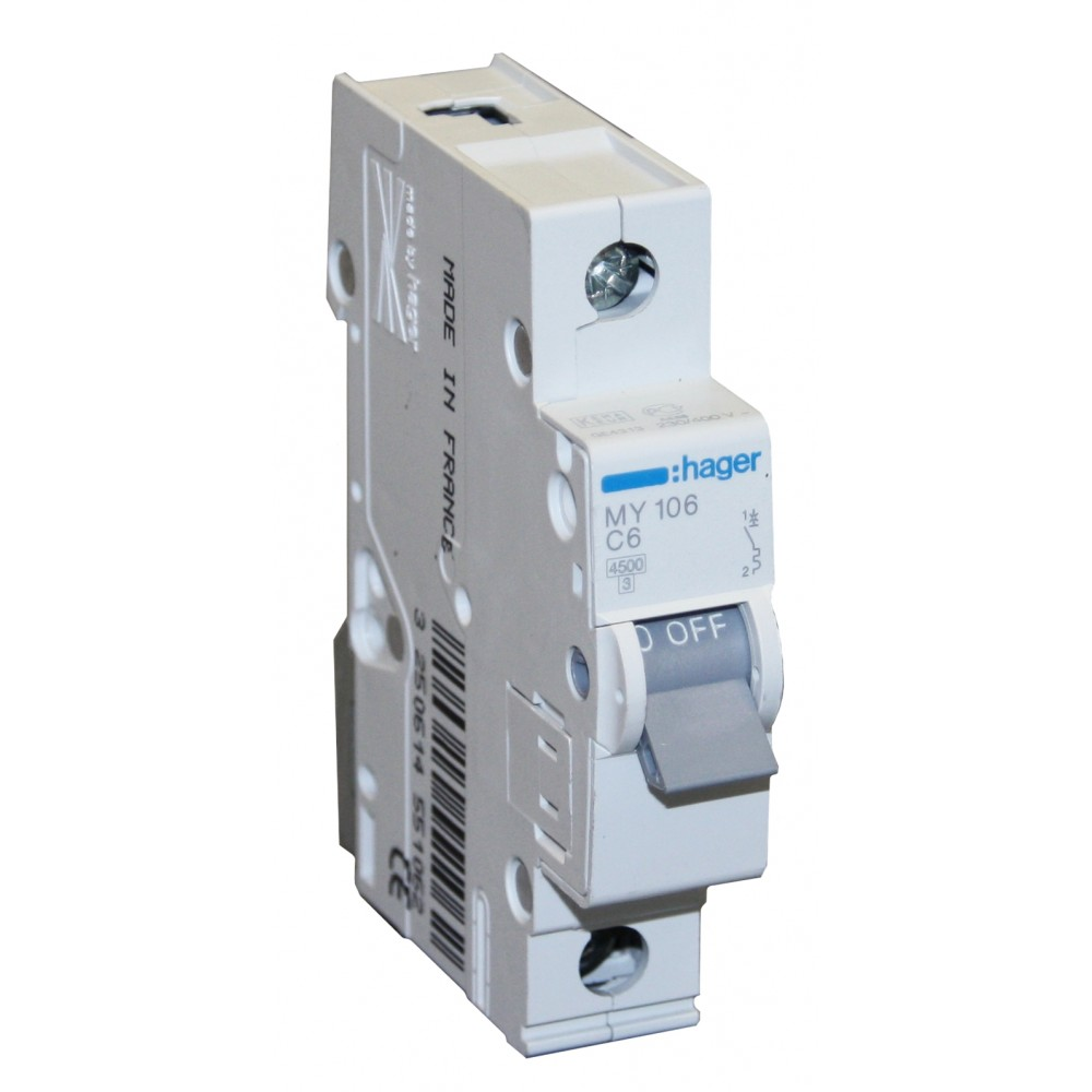 Hager MY110, 10А, Автоматический выключатель AC