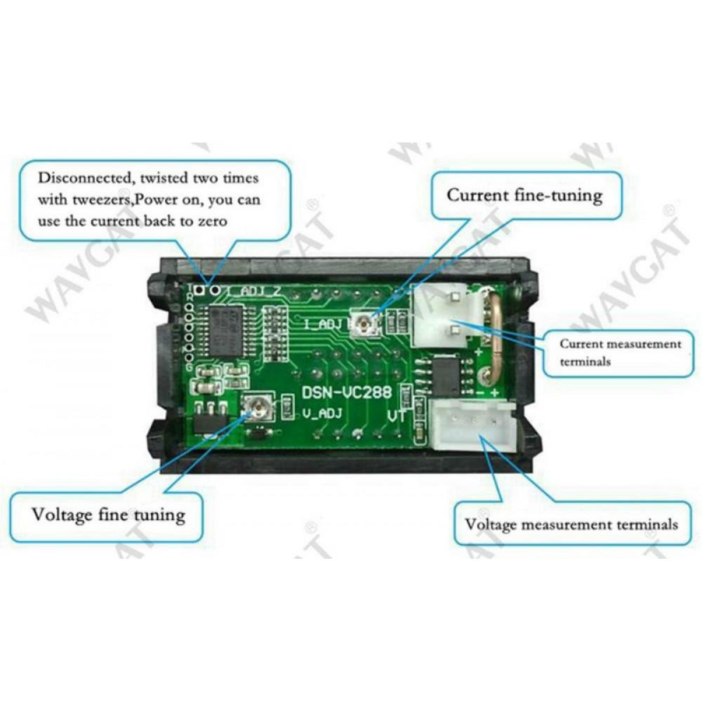 Комбинированный DC 0-100V 10A вольтметер-амперметр