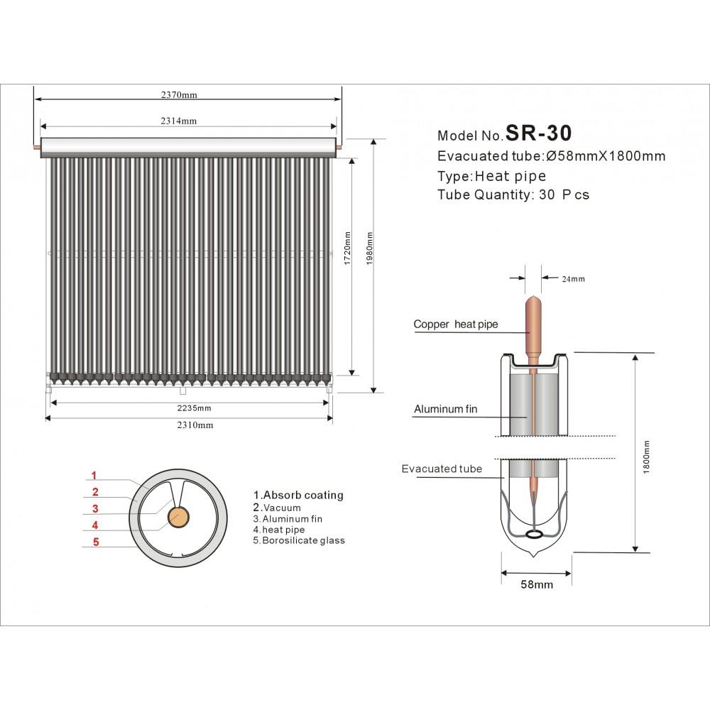 Вакуумный коллектор SR30-58/1800