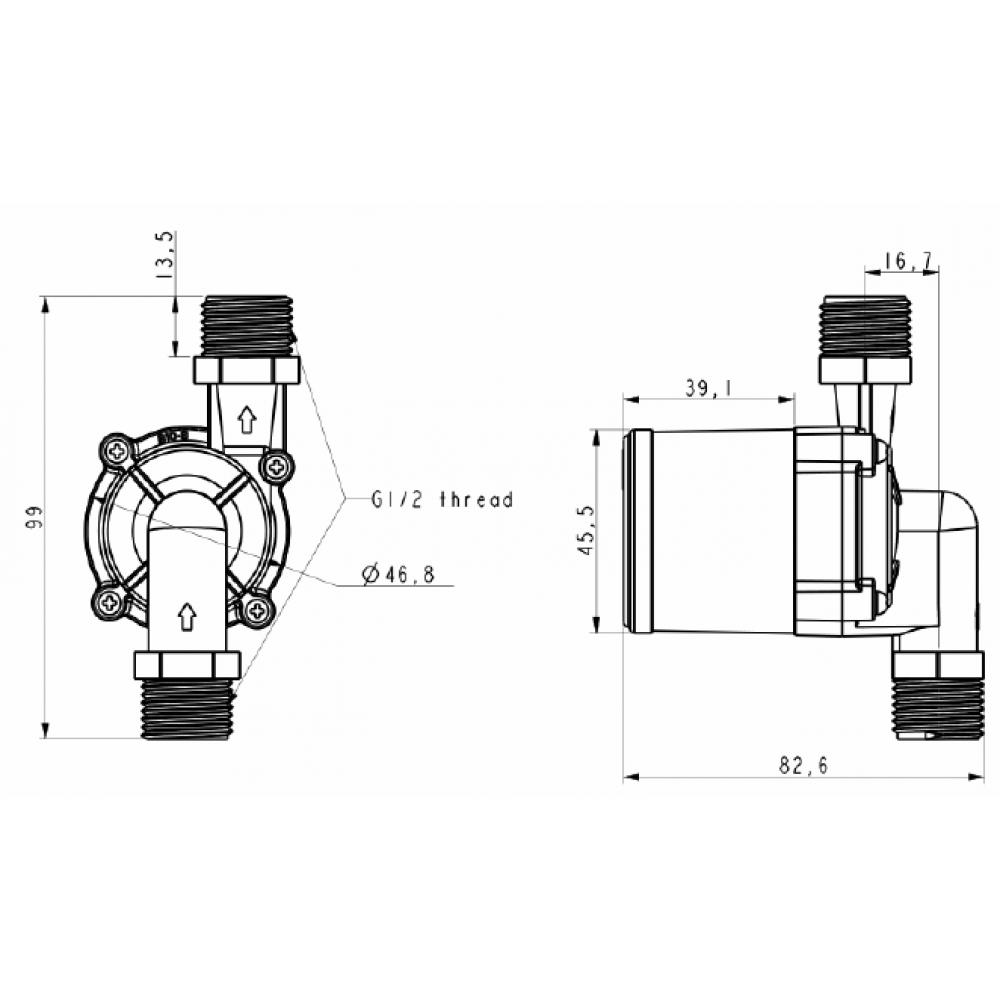 TL-B10H/PV-B12 насос циркуляционный DC 12В