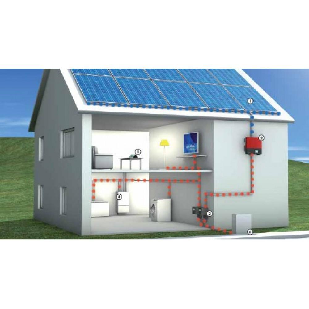 Фотоэлектрическая резервно-сетевая система: 4 кВт выходная мощность, 2 кВт мощность солнечных батарей