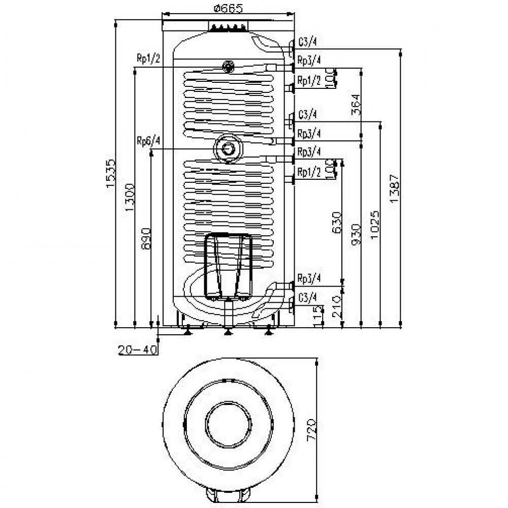 Бак Hajdu STA 300C, 300 л с  1 теплообменником