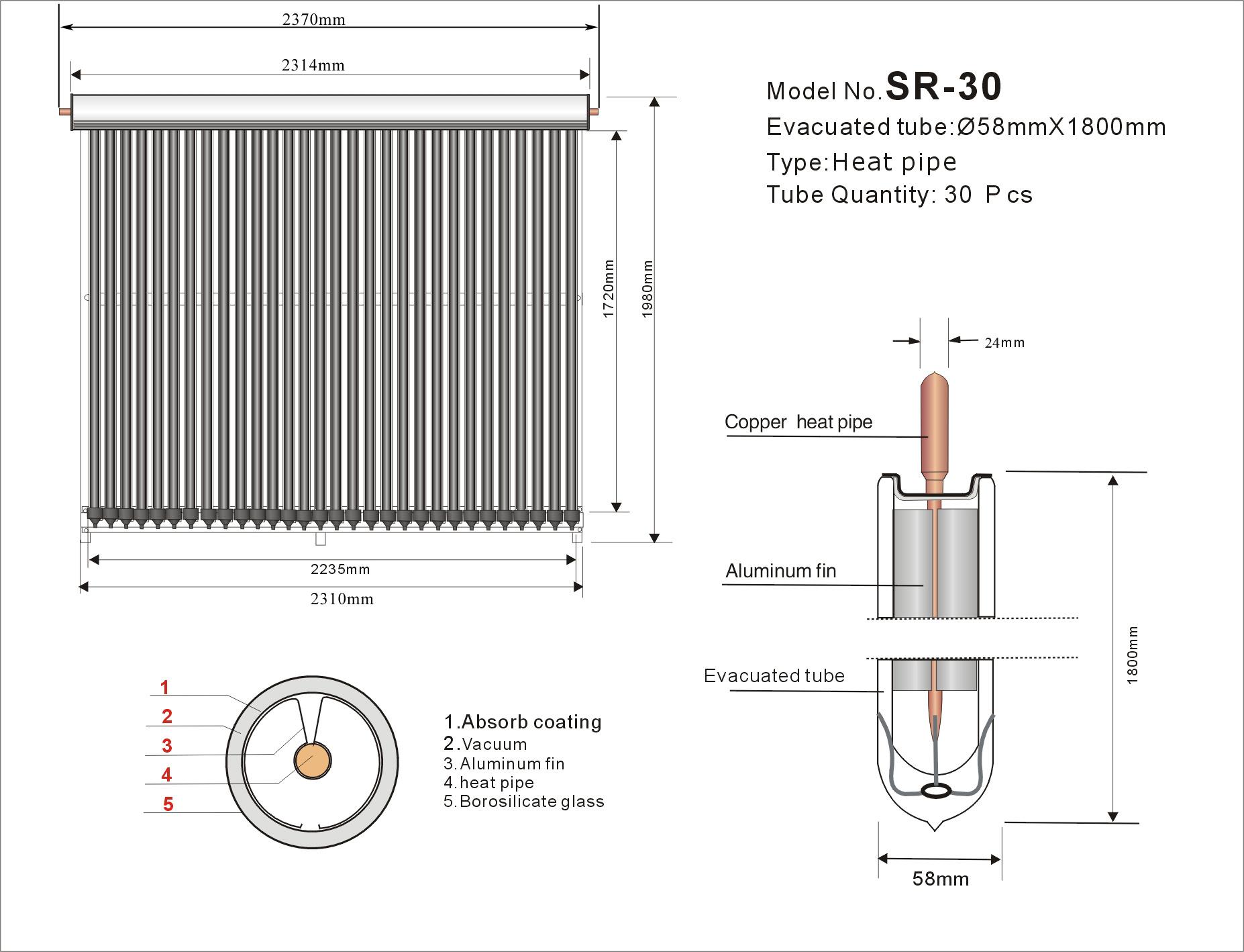 Размеры вакуумного коллектора SR30