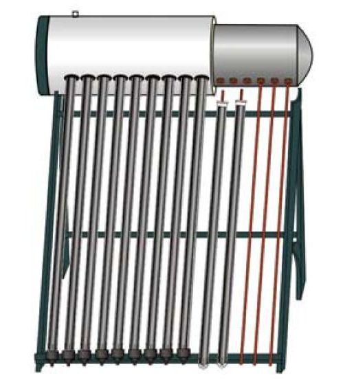 Система с вакуумным солнечным коллектором и баком с теплообменником