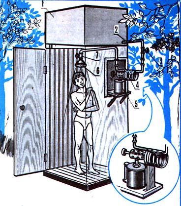 Душевая кабина с устройством для подогрева воды