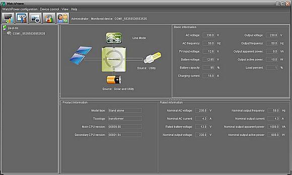 Интерфейс программы для Prosolar Combi