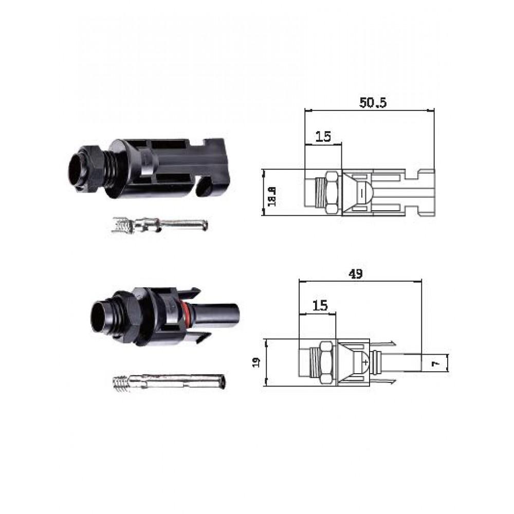 MC4-L Коннекторы для солнечных модулей для установки в корпус