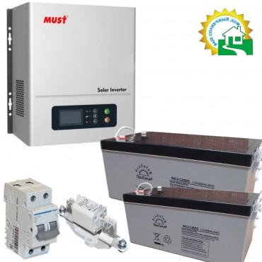 Комплект для бесперебойного электроснабжения системы отопления с пиковой мощностью 1200 Вт / 2000ВА 2 кВт*ч, напряжением аккумулятора 24В, со стабилизацией входного напряжения