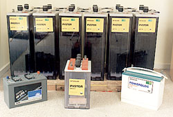 An assortment of storage batteries